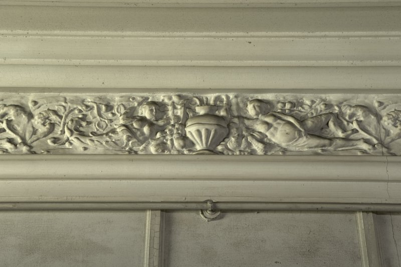 Ground floor, garden room, detail of cornice frieze