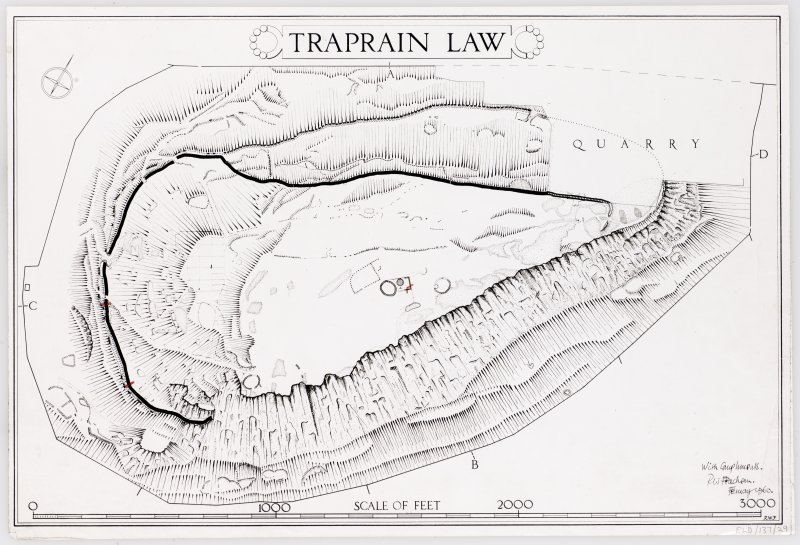 RCAHMS ink plan: Traprain Law fort. Signed RW Feachem.
