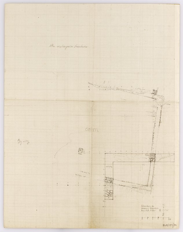 Excavation drawing; plan of 'structure on summit mountain W of OD pillar'