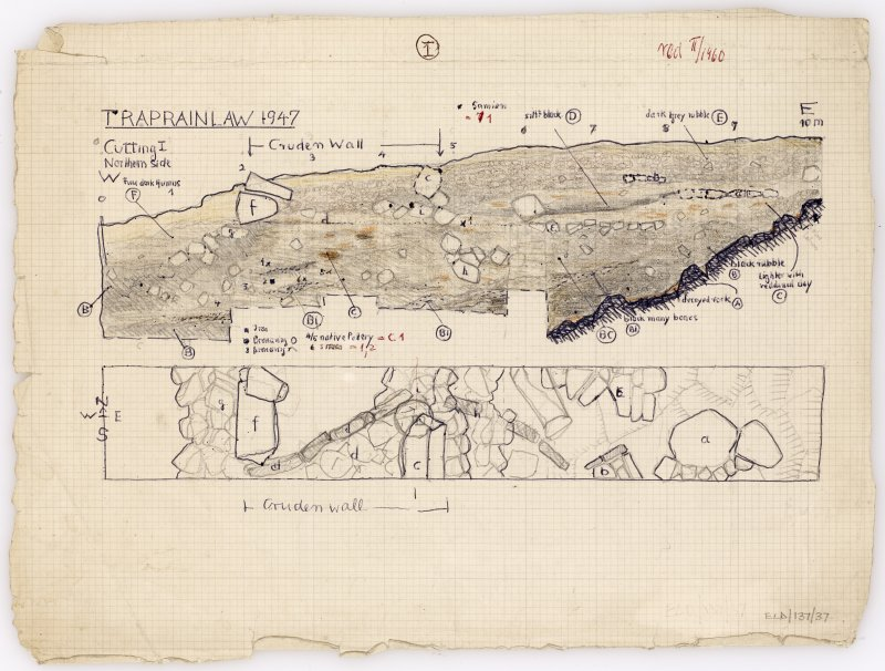 Excavation drawing. Plan and northern section of cutting 1.