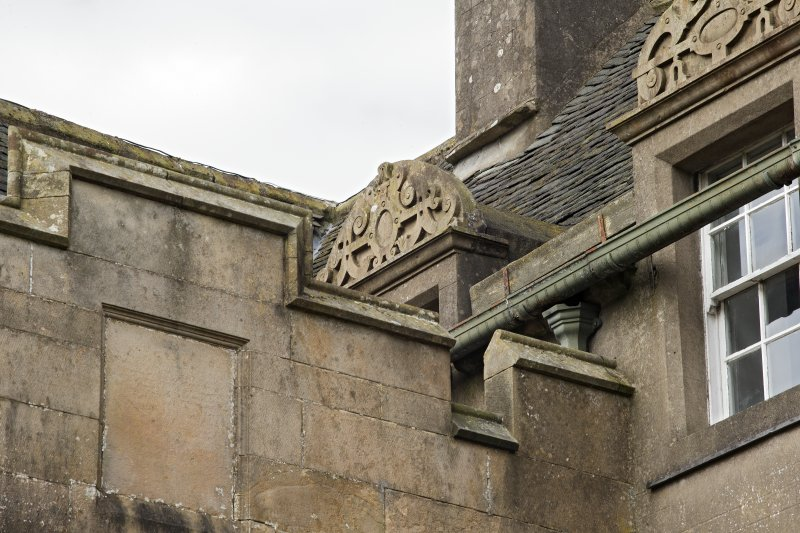 Detail of pediment of dormer on south face of original block