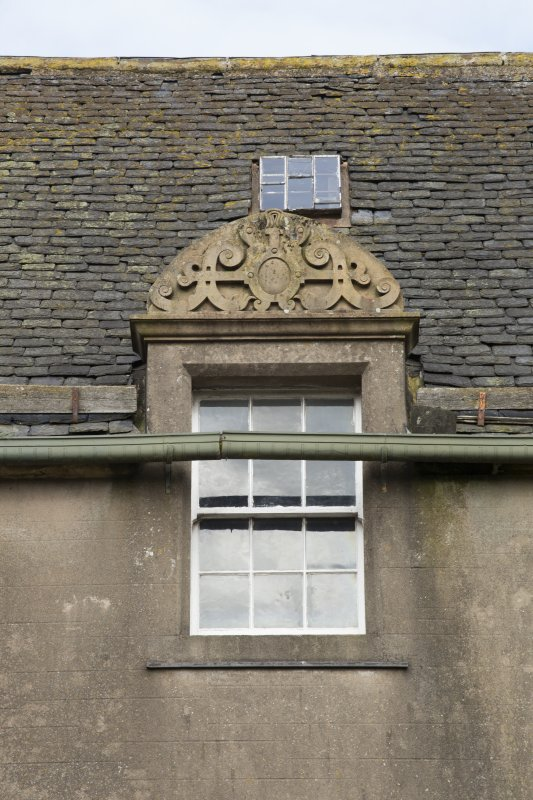 Detail of dormer with pediment on south face of original block
