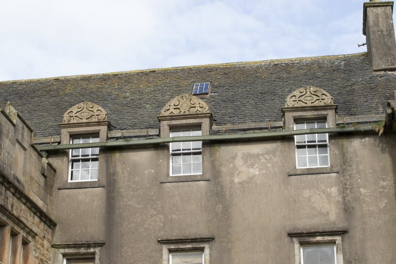 Detai of three dormers with pediments on south face of original block