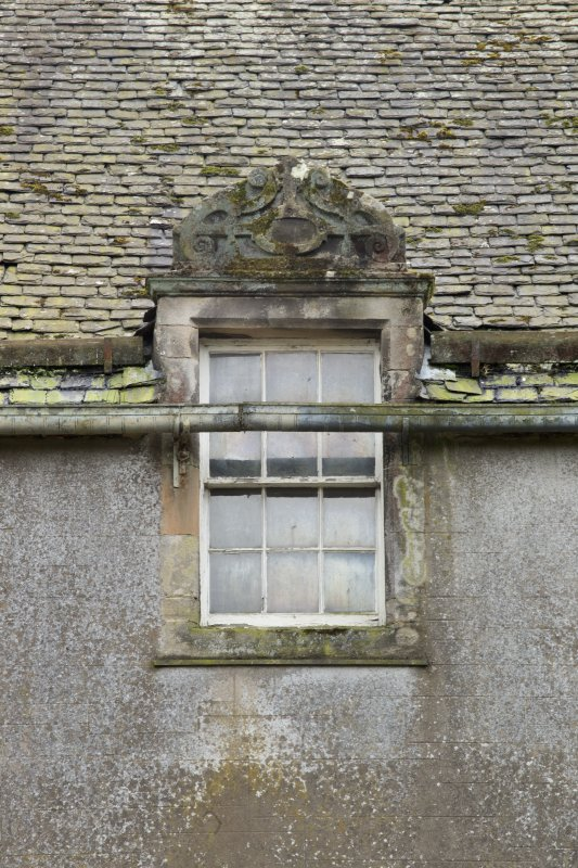 North front, detail of dormer with stone pediment