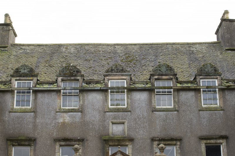 North front, detail of dormers with stone pediments above main entrance