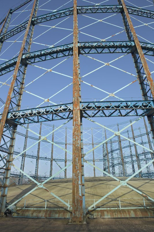 Gasholder no.1, detail of standards, cross trusses and crown of tank.