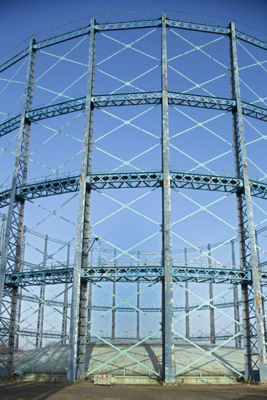 Gasholder no.2, detail of stanchions and cross trusses. The trusses give strength and rigidity to the frame of the holder. This frame guides the 'lifts' of the holder as gas is pumped in and out