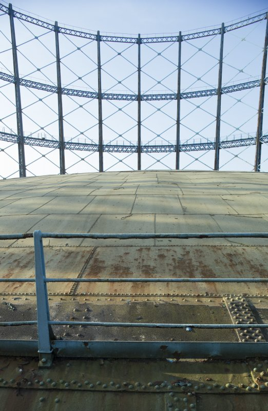 Gasholder no.2, detail of guard rail, crown of tank and stanchions and cross trusses beyond