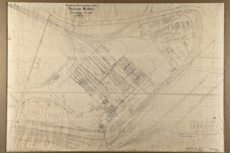 Copy of site plan of Provan Works 'Revised Oct 1935 & June 1936. Gas Engineer's Office, 30 John Street, Glasgow'