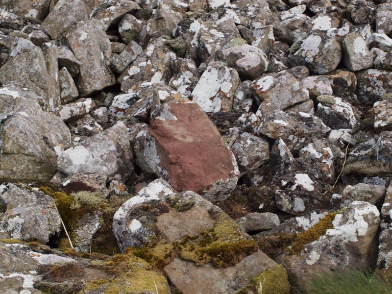 Close-up of a possibly Roman block of sandstone in the screes on the S side of the gully NW of the summit