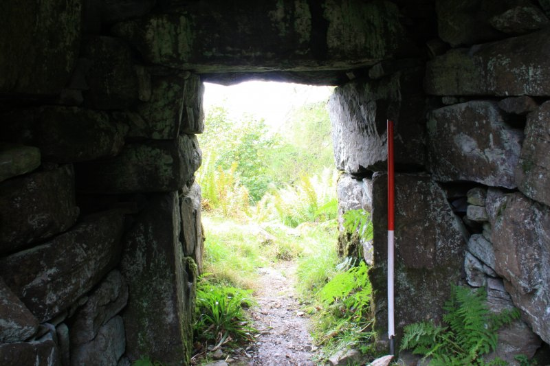 View of entrance passage door checks, from S
