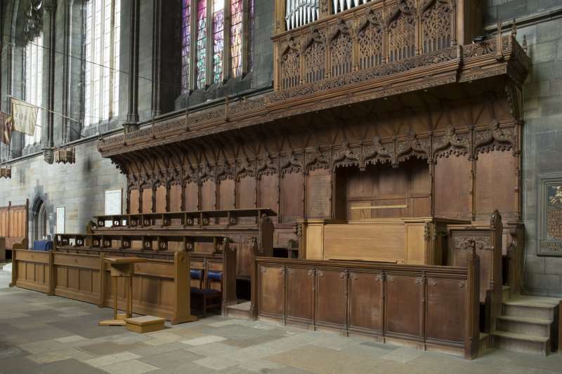 Choir stalls and organ, view from north west