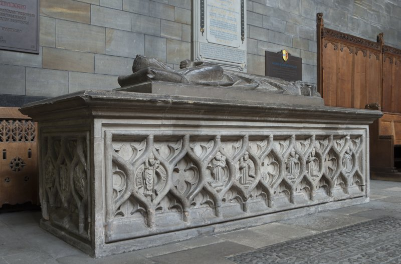 Choir, Marjory Bruce chest tomb, view from south west