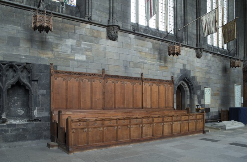 Choir, stalls on south wall, view from north east