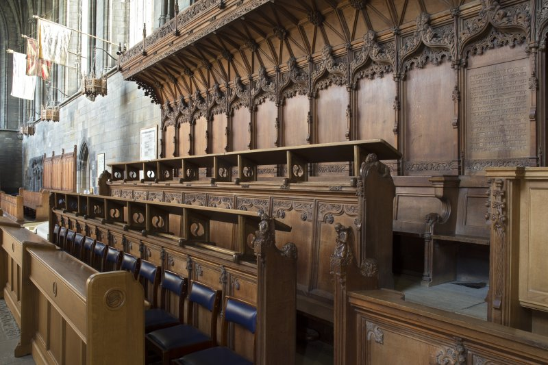 Choir, stalls at west end of south wall, view from north west