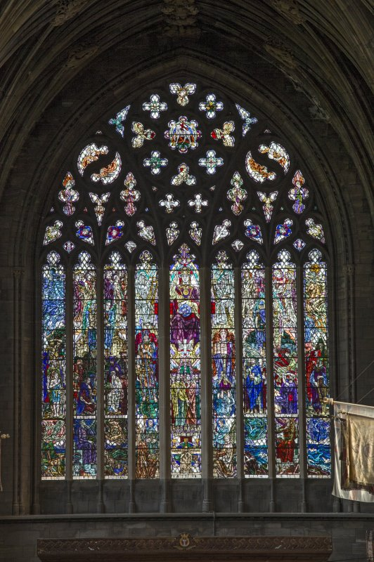 Choir, stained glass window on east wall, view from balcony to west