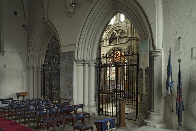 St Mirin Chapel, gates leading to abbey, view from south east