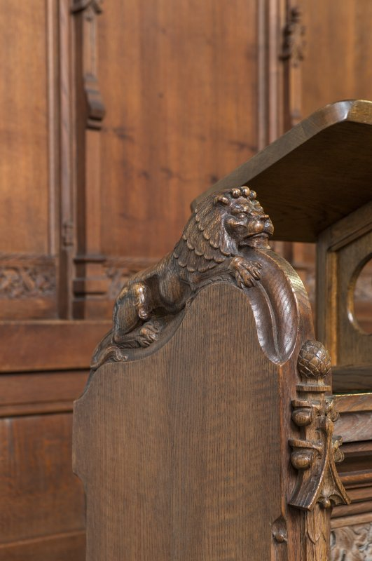 Choir, detail of carved lion on choir stalls