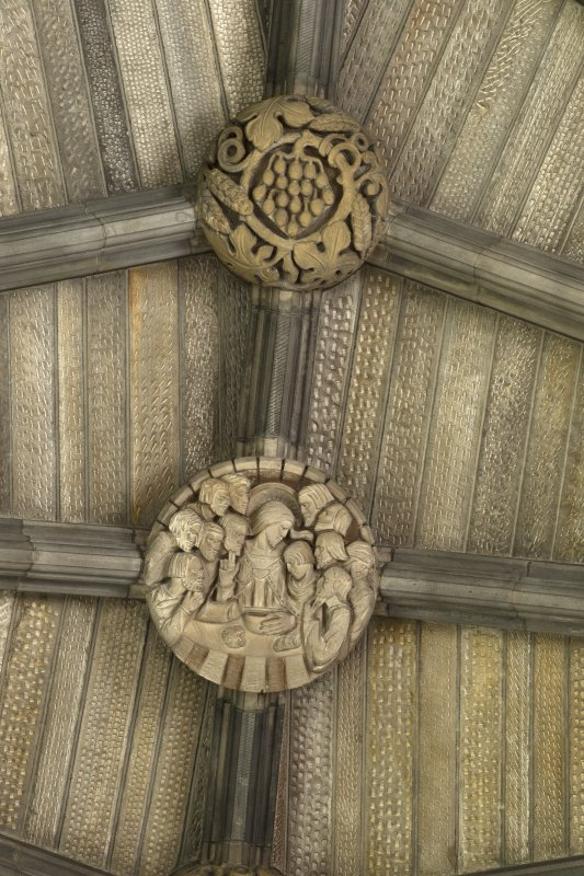 Choir, ceiling, detail of carved bosses (The Lord's Supper and wheat and vine)
