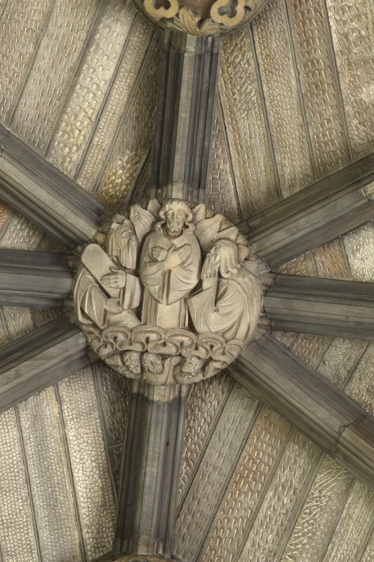 Choir, ceiling, detail of carved boss (The Lord transfigured)