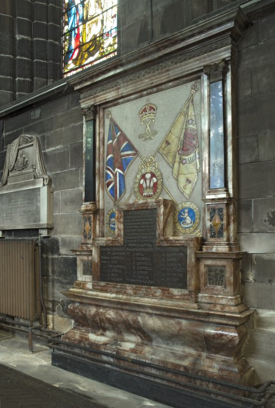 Crossing, north transept, view of war memorial from south west