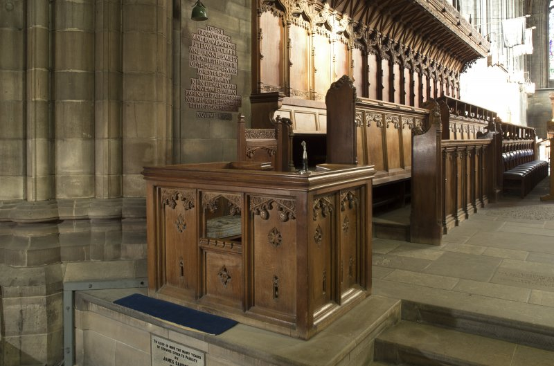 Crossing, view of box with chair at west end of north choir stalls