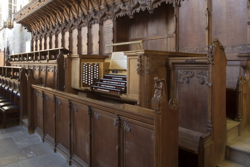 Choir, view of organ and choir stalls from north west