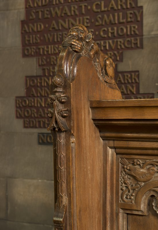 Choir, detail of carved monkey on choir stalls