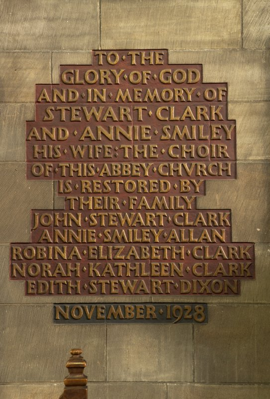 Choir, detail of plaque commemorating the restoration of the abbey