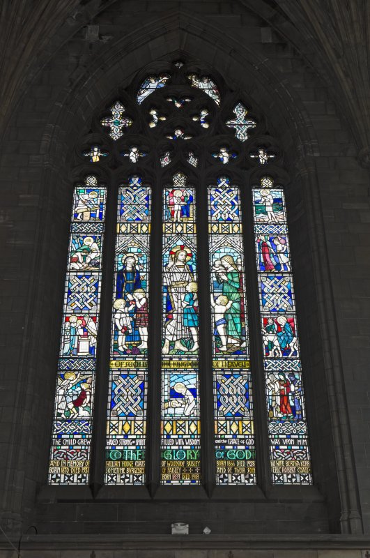 Choir, view of stained glass window in north wall