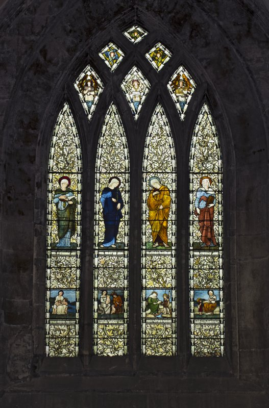 Nave, detail of stained glass window