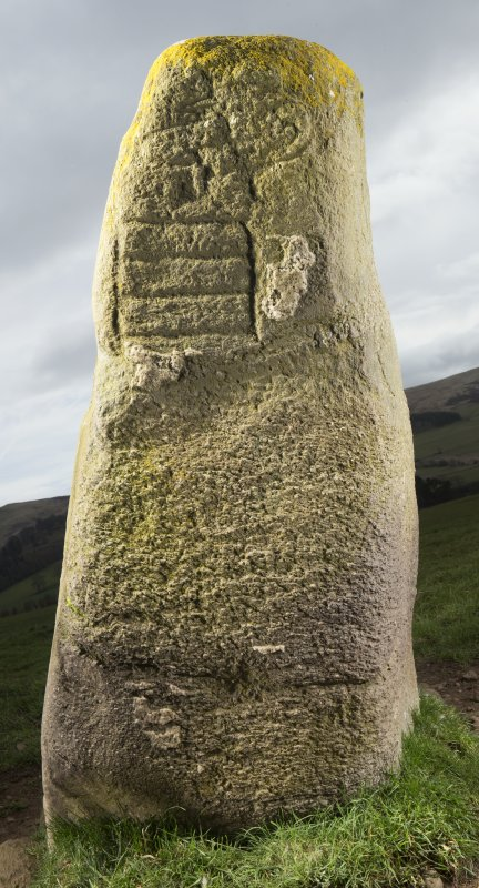 View of stone with Pictish symbols