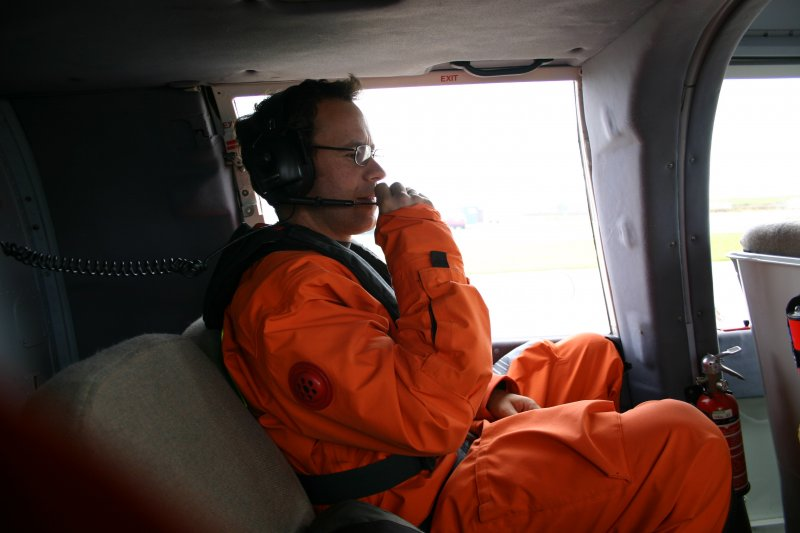 Alex Hale in helicopter en route to Hirta