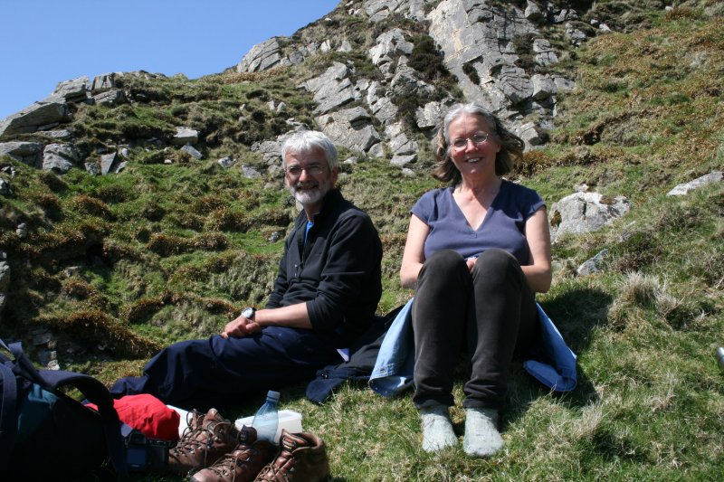 Ian Parker and Jill Harden (NTS) on Glacan Chonachair