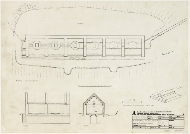 Plan, section and details Insc: Furnace, Loch Fyne Powder Works, Ground plan, details. Sheet 1 of 3.