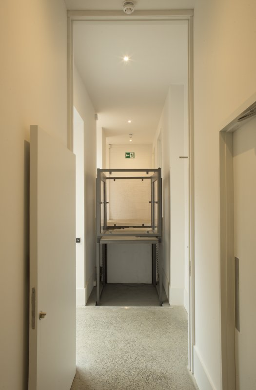 Ground floor, corridor with disability lift, view from east
