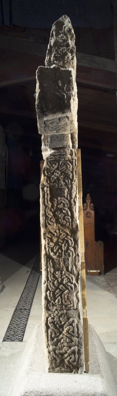Barochan Cross, view of left hand side (including scale)