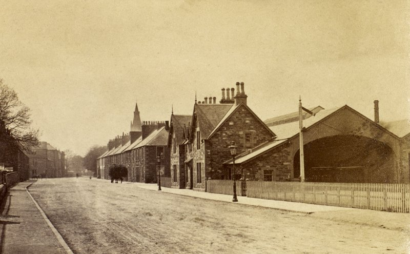 General view from north east before demolition of carriage and goods sheds. Titled 'Kirkcudbright Station'. PHOTOGRAPH ALBUM No 25: MR DOG ALBUM