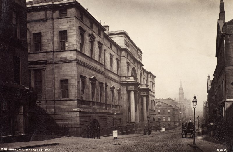 View of Old College, Edinburgh University from North Bridge. Titled: 'Edinburgh University. 175. G.W.W'. PHOTOGRAPH ALBUM NO 25: MR DOG ALBUM