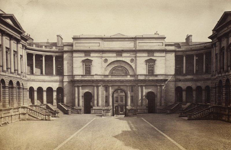 View of Quadrangle, Edinburgh University and Library. Titled 'Quadrangle. Edinburgh University.' PHOTOGRAPH ALBUM NO 25: MR DOG ALBUM