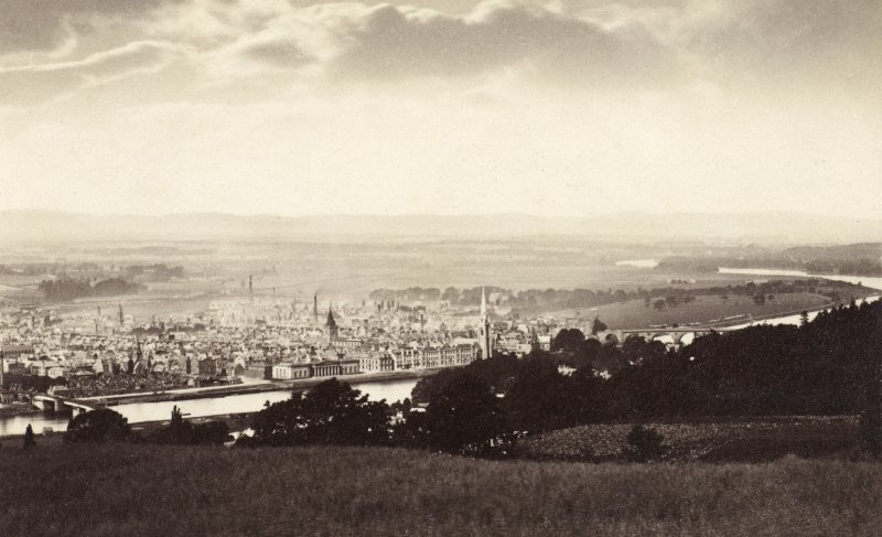 Distant view of Perth. Titled: 'Perth from Kinnoul' PHOTOGRAPH ALBUM NO 25: MR DOG ALBUM