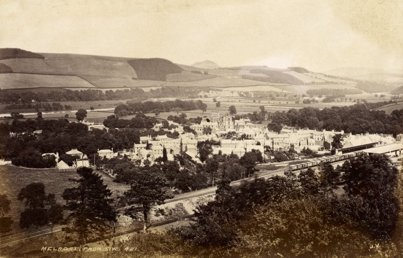 Distant view of Melrose from the south west. Titled: 'Melrose from S.W. 421 J.V.' PHOTOGRAPH ALBUM No 25: MR DOG ALBUM