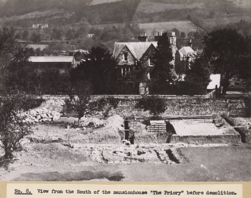 View of The Priory, Melrose Abbey, from S, prior to demolition.