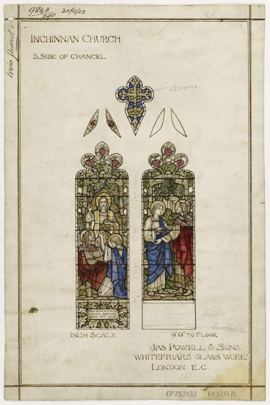 Design for stained glass window in chancel of Inchinnan Church.