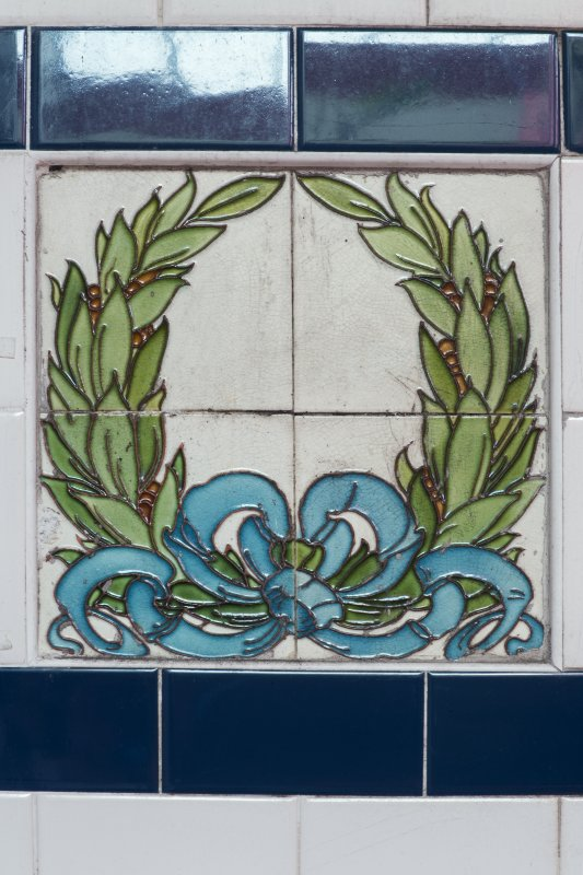 First floor. Gallery. Detail of laurel leaf tiles. Calder Street Public Baths and Washhouse, Glasgow