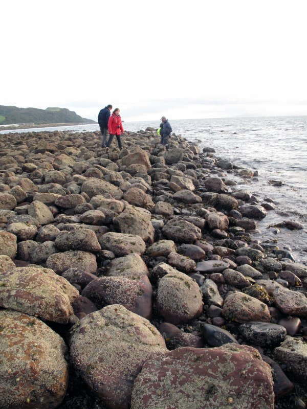 View along boulder wall on east side of harbour, looking south.
