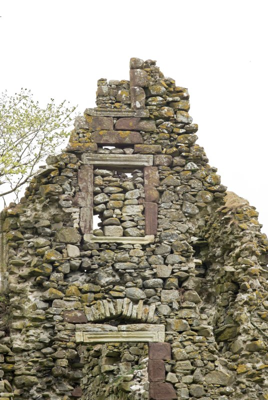 North west wall, west gable, detail of window openings at upper level