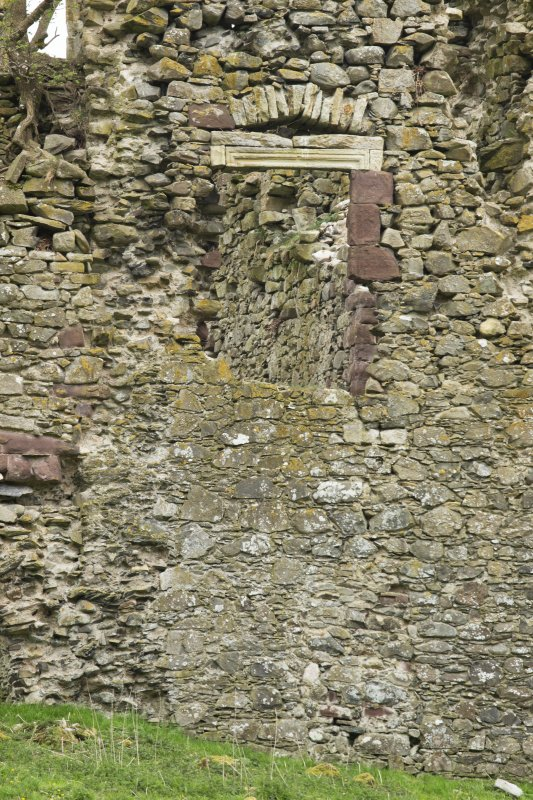 North west wall, west gable, detail of window opening at lower level