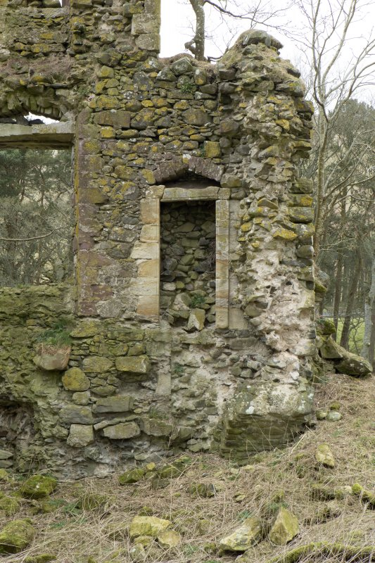 North west wall of castle, detail of doorway with relieving arch above