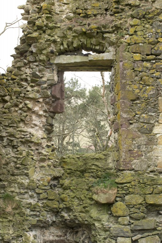 North west wall, detail of window opening with relieving arch